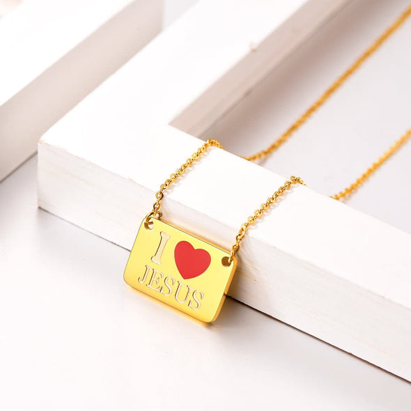 Personalized Engraved I Love Jesus Square Plate Bar Pendent Necklace