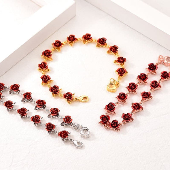 I Love You In 100 Languages Heart Charm Red Rose Bracelet for Women