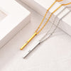 Delicate 18k Gold Plated Stackable Personal Engraved Vertical Bar Birthstone Necklace For Women