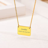 Stackable Minimal 18k Gold Plated Personalized Engraving Small Square Plate choker necklace
