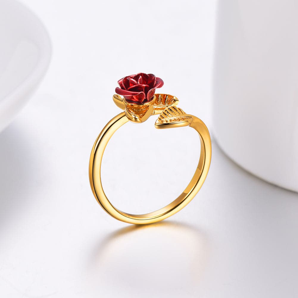 Handmade Adjustable Wrap Open Red Rose Flower Ring Valentine's Day Gift