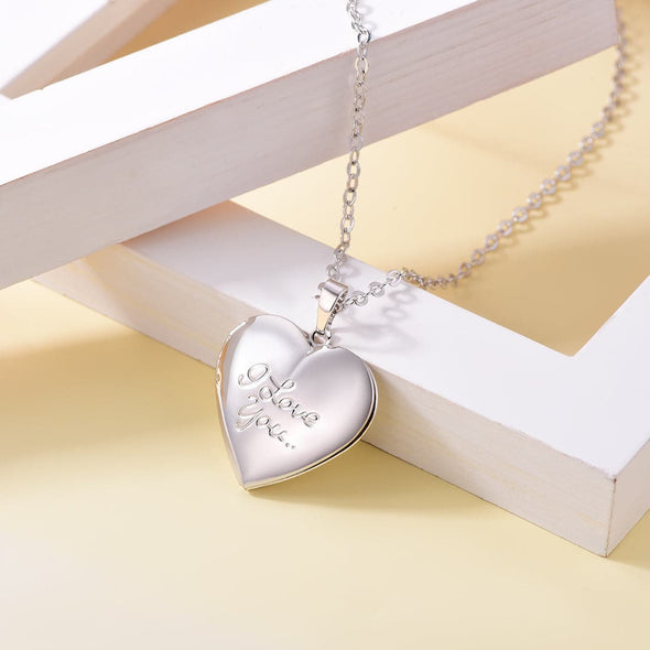 Personalized Women's I Love You Engraved Heart Locket Photo Necklace