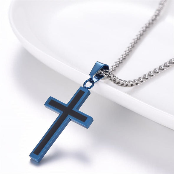 Personalized Cross Pendant Necklace Custom Christian Jewelry for Men