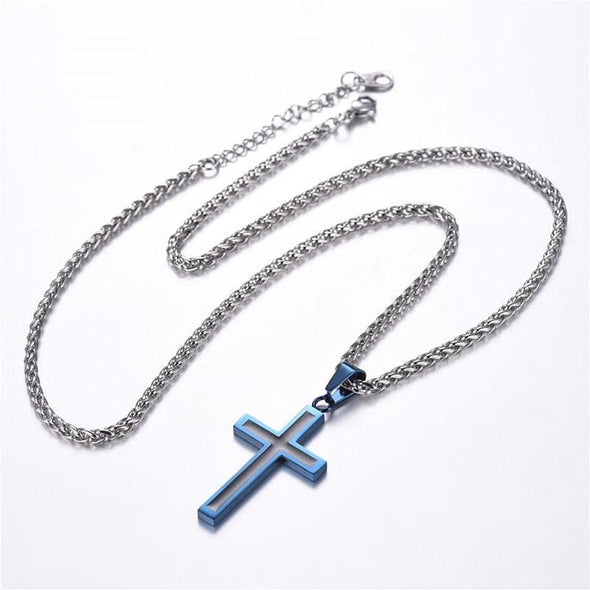Simple Two-Tone Cross Pendant Necklace Custom Christian Jewelry
