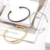 Handmade Adjustable Custom Personalized Engraving Highly Polished 316L Stainless Steel 18K Gold/Black Plated Slim Stackable Open Bangle Cuff Bracelet For Women