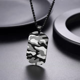 Camouflage Dog Tag Necklace Custom Engraving Military Fans Jewelry