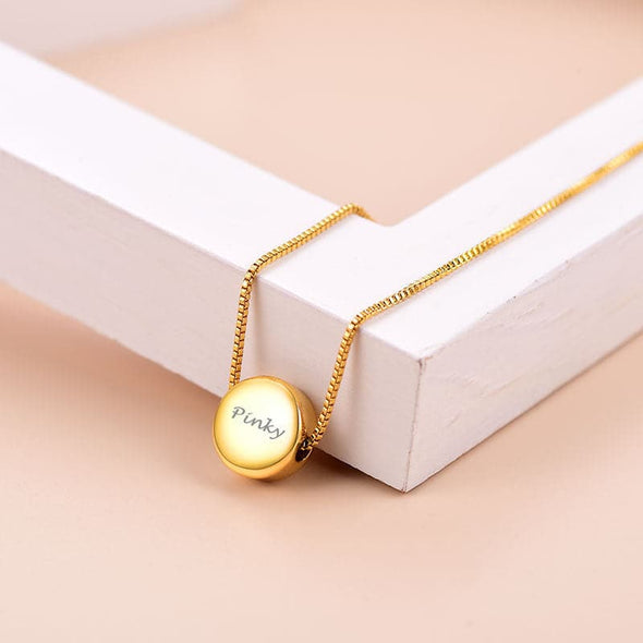 Personalized Engraving Highly Polished Tiny Button Round Circle Ball Dot Necklace For Women