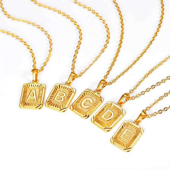 18K Gold Plated Initial Necklace Letter A-Z Men Women Jewelry Square