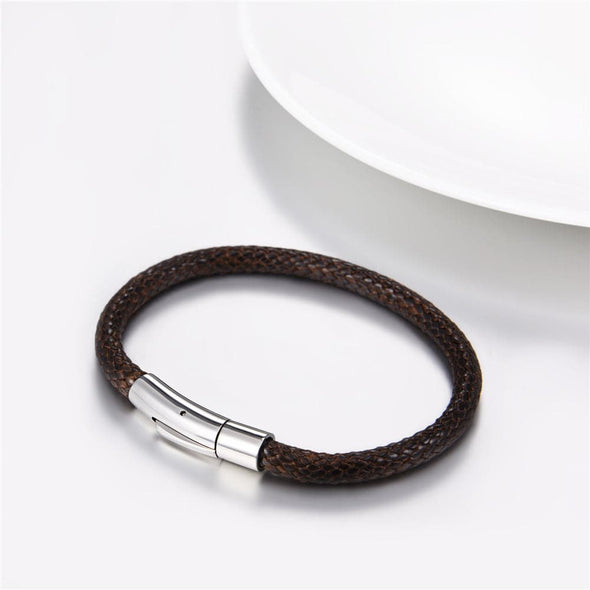 Simple Classic Personalized Handmade Custom Black/Brown Genuine Leather Vintage Braided Wax Rope Wrist Cuff Bracelet With Durable Stainless Steel Snap Clasp For Men And Women