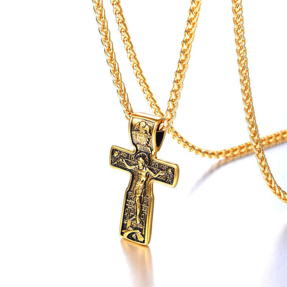 Gold INRI Crucifix Cross Necklace Catholic Church Religious Jewelry