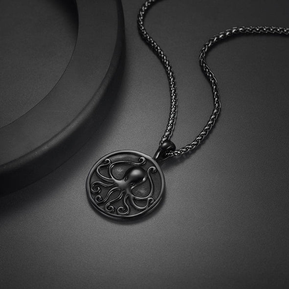Engravable Handmade Round Medal Octopus Pendant Necklace for Men