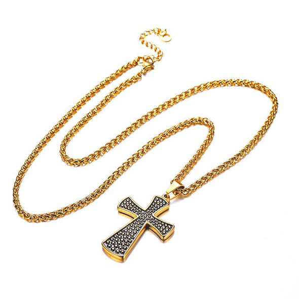 Gothic Celtic Cross Pendant Necklace Dots Patterned Christian Jewelry