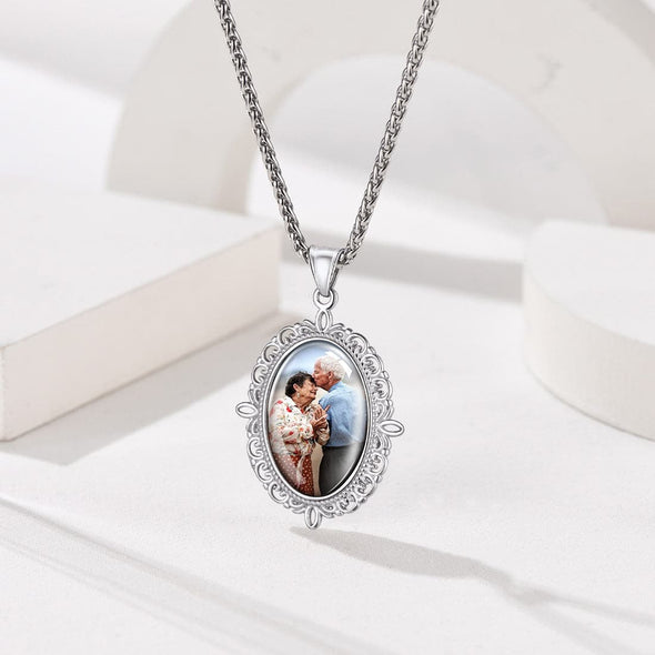 Personalized Engravable Convex Oval Custom Photo Pendent Necklace 316L Stainless Steel