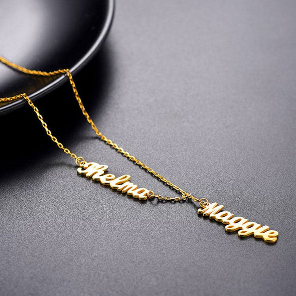 Custom Name Lariat Necklace Double Name Bar Necklace Charm Jewelry