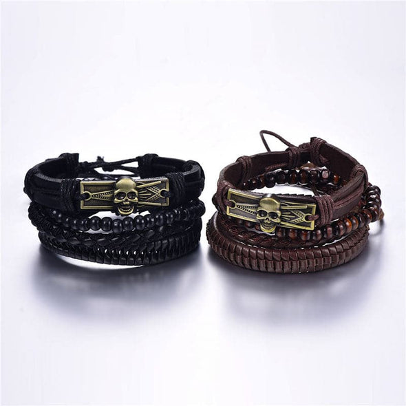 Unisex Vintage Retro Personalized Adjustable Handcrafted Black/Brown Skull Skeleton Metal Bar Braided Genuine Leather Hemp Cords Wooden Beads 4 Pieces Set Multi-layer 40MM Wide Wrap Bracelet