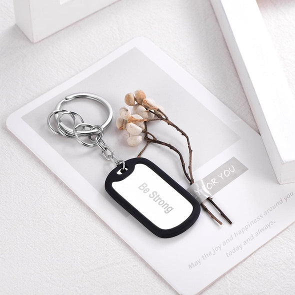 Personalized Photo Text Engraved Dog Tag Keychain 360L Stainless Steel