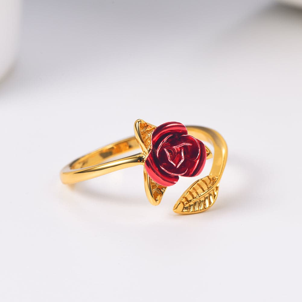 Vintage Handmade Adjustable Red Rose Flower Ring Valentine's Day Gift