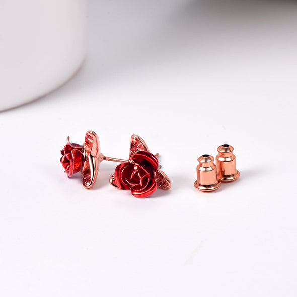 Cute Red Rose Flower Stud Earrings 18K Gold Plated Gifts For Women