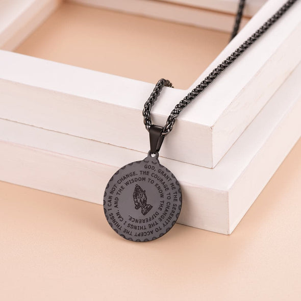 Personalized Engraving Coin Bible Verse Praying Hand Medal Necklace