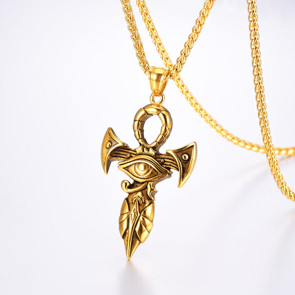 Custom The Eye Of Horus Ankh Cross Necklace  18K Gold Plated