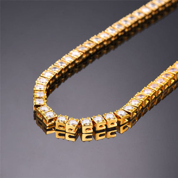 4mm Cubic Zirconia Tennis Chain Necklace HipHop Migos Jewelry For Men