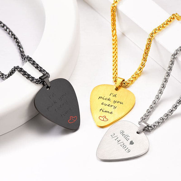 Personalized Engraved Guitar Pick Pendant Custom Music Necklace
