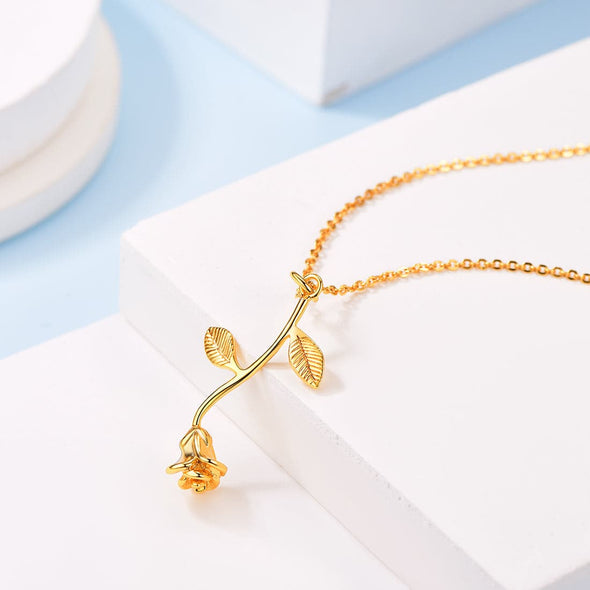 Classic 3D Rose Flower Necklace Floral Charm Pendent Choker For Women 18K Gold Plated