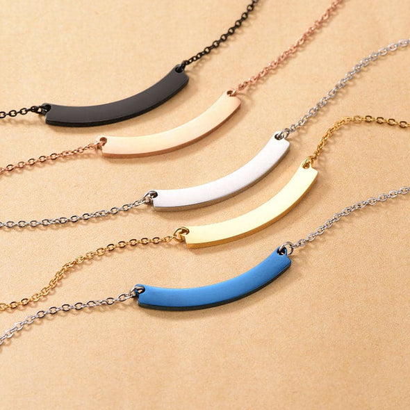 curved horizontal bar necklace
