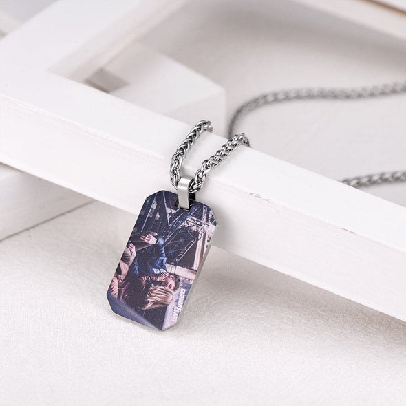 Personalized Photo Engraved Dog Tag Necklace With Cut Corners For Men