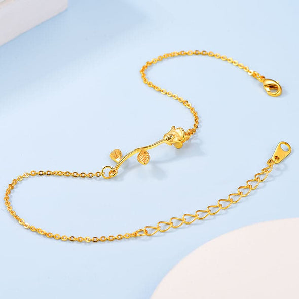 18k Gold Plated Stem Yellow Rose Flower Charm Delicate Link Chain Ankle Bracelet Anklet For Women