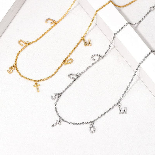 Micro Paved Cubic Zirconia Bling Small Initial Letter Hanging Charm Name Choker Chain Necklace