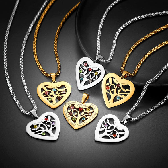 Custom Heart Birthstone Family Tree of Life Necklace with 2-7 Names