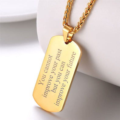 Engravable Dog Tag Necklace Custom Name ID Personalized Men Jewelry