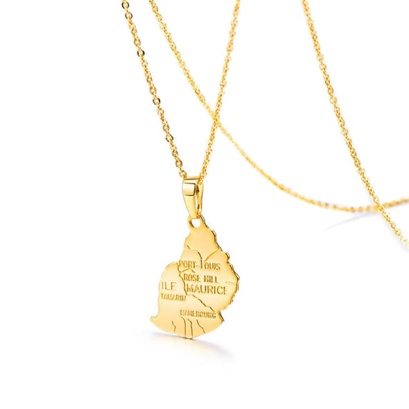 Mauritius Map Pendant Necklace 18k Gold Plated African Island MRU Jewerly