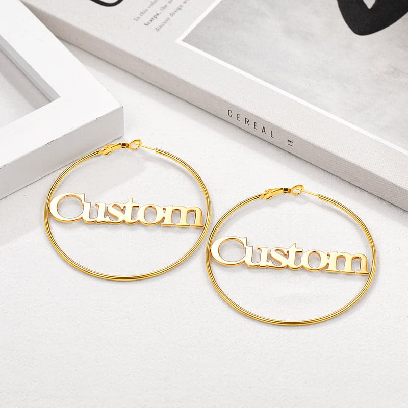 Unique fashion 316L stainless steel 18k gold plated creative custom name surgical huggie hoop earrings for women girls, 3 diameter options