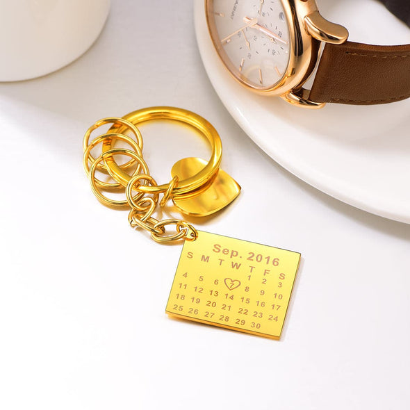 Unique customize 316L stainless steel 18K gold/black plated calendar plate and heart tag house car keychain