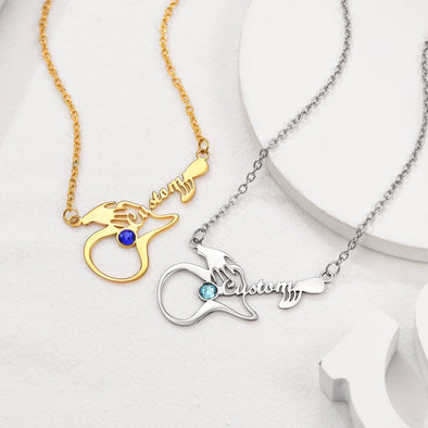 Personalized 316L stainless steel 18k gold plated Austrian rhinestone inlaid playing guitar birthstone custom name necklace for women and girls