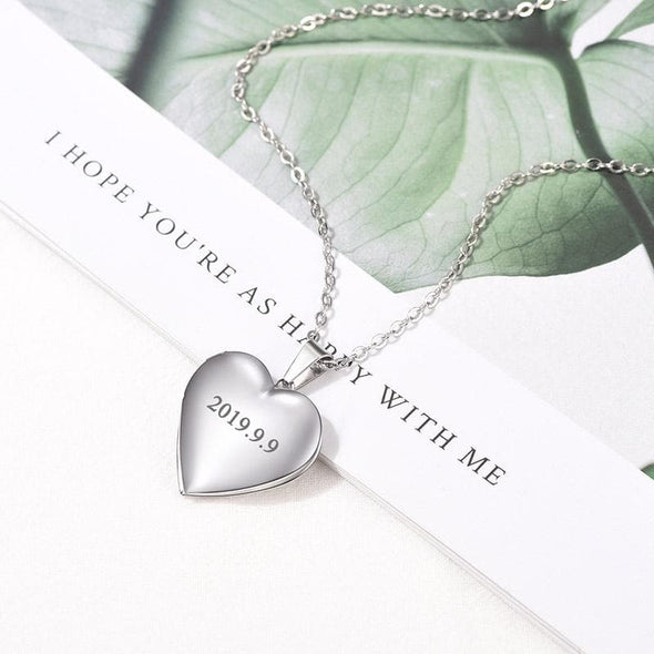 Custom Engraving Heart Shaped Photo Locket Necklace Platinum/Gold Plating Classic Photo Locket For Women and Men