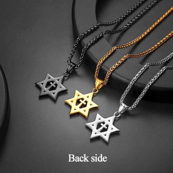 Simple 18k Gold Plated Handmade Israel Jewish Star Of David With Patterns Pendant Necklace