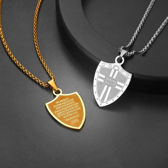 Armor God Shield Cross Christ Pendant Necklace with Bible Verse Isaiah 54:17 for Women And Men