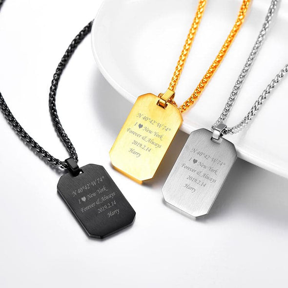 Personalized Dog Tag Necklace Free Engraved Custom Text Men Jewelry
