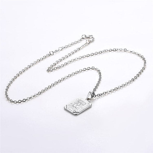 Squared Alphabet Pendant Necklace Letter W Jewelry Gift For Men & Women