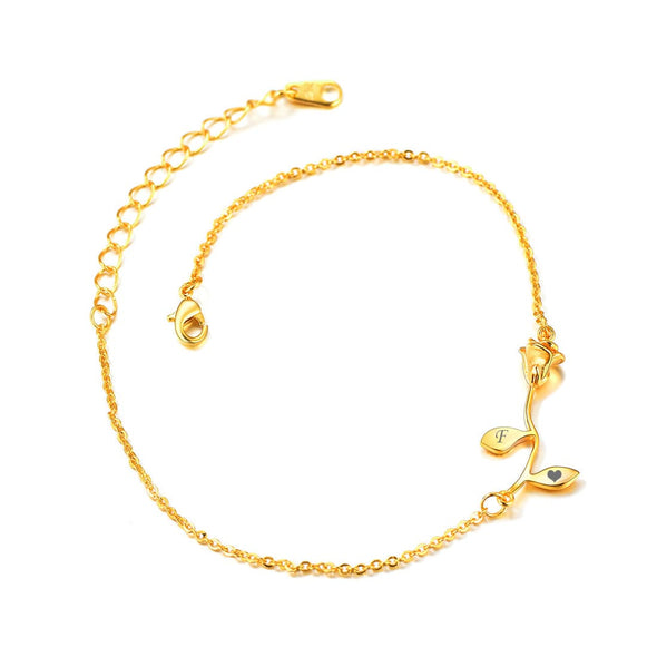 18K Gold Plated 3D Yellow Rose Flower Charm Anklet with Curb Box Chain