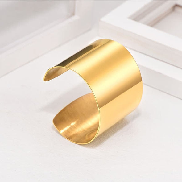 Fasion Minimalist Handcrafted Customize Engravable 316L Stainless Steel 18K Gold Plated High Polished Statement Large 60MM Wide Chunky Open Cuff Bracelet Armband Bangle For Women And Girls