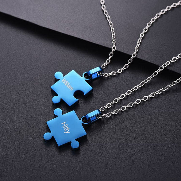 Engraved Puzzle Necklace Personalized Matching Couples Puzzle Jewelry