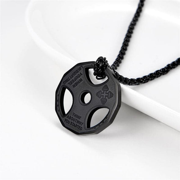 Fitness Gym Dumbbell Weight Plate Barbell Chain Necklace for MenPersonalized Dumbbell Weight Plate Pendant Barbell Chain Necklace Black
