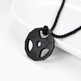 Fitness Gym Dumbbell Weight Plate Barbell Chain Necklace for Men