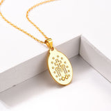 18k Gold Plated 925 Sterling Silver Catholic Christian Virgin Mary Oval Pendant Necklace For Women And Men