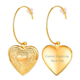Vintage Gold Plated Heart Locket Drop Dangle Earrings For Women