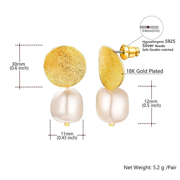 Classic Baroque White Pearl Drop Earrings With Gold Plated Round Coin